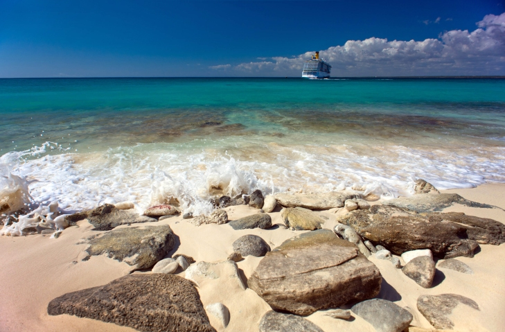 Catalina Island, La Romana, Dominican Republic. A cruise liner i